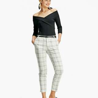Stradivarius Smart Checked Trousers with Belt
