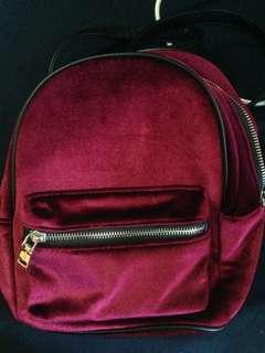 [Pull&Bear] Red Velvet Backpack
