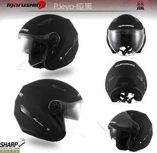 黑耀石marushin马鲁申正版摩托车双镜片半盔男女头盔四季通用