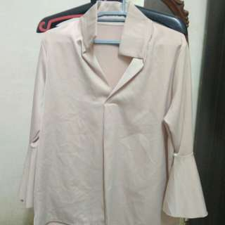 Nude Blouse with Bell Sleeves