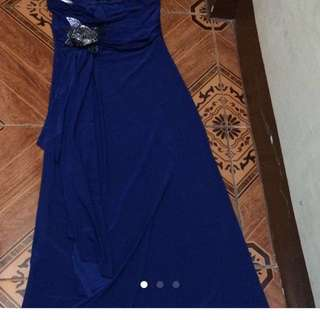 Long dress royal blue and floral