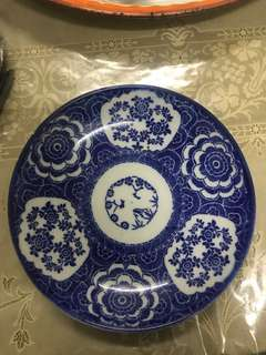 Vintage blue white china plate