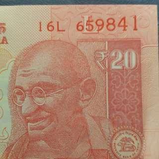 2015年 亞洲 印度20盧比 全新直版
