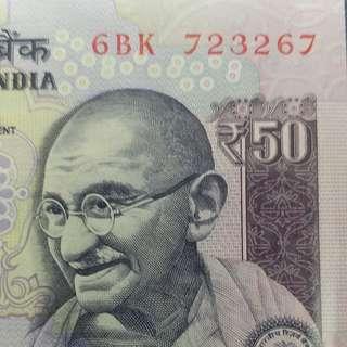 2012年 亞洲 印度 50盧比 全新直版