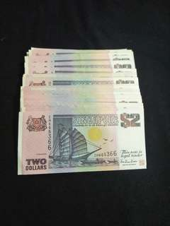 Sg old $2 notes 500pcs offer 500pc x $2.30