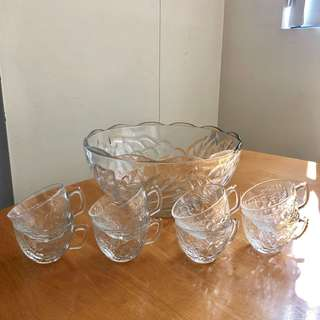 Glass Punch Bowl & Cups Set