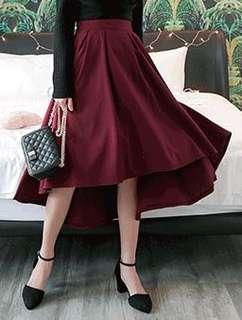 酒紅色不規則剪裁 吊帶長裙