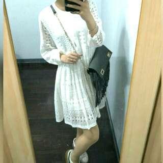 蕾絲雕花白洋裝㊣韓#老闆娘(都奉順)