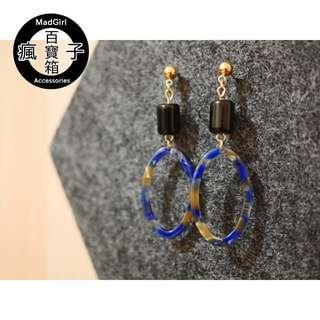 【包郵】復古幻彩長耳環 (藍色) earrings