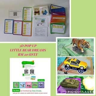 3D POP UP... LITTLE BEAR DREAMS EDUCATIONAL CARD