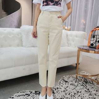 韓版春夏時尚新品寬鬆哈倫褲高腰休閒顯瘦九分牛仔褲