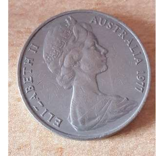 Australia 20 Sen Coin Queen Elizabeth Second 1977