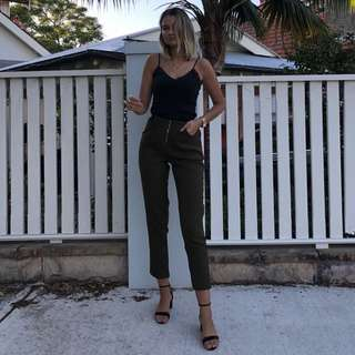 Misguided dark green trousers