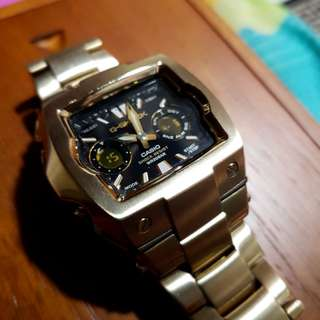 *Rare* - Casio Men's G-Shock G011BD-9A Gold Gold Tone Stainless-Steel Quartz Watch with Black Dial