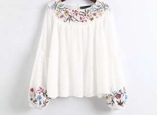 Hanna Embroidered Top in White