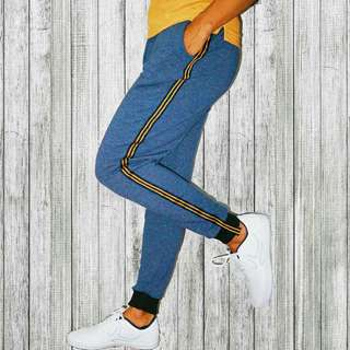 Men Side Stripe Blue Track Pants