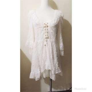 🚚 交叉綁帶蕾絲洋裝