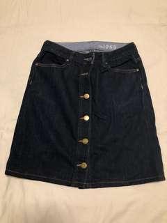 Gap button down denim skirt