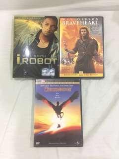 DVD Dragonheart, Braveheart, I Robot