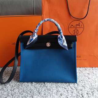 Hermes Herbag 31 Blue Outremer Stamp A