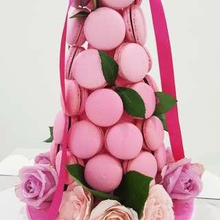 Rose macaron tower