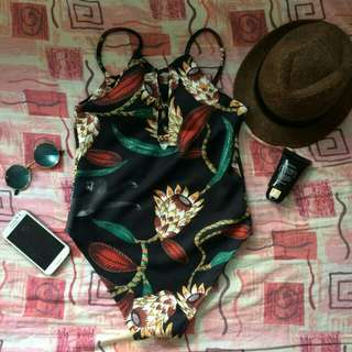 Black floral Onepiece Swimsuit