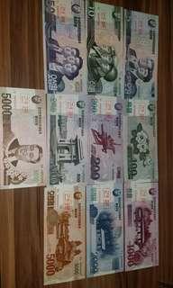 罕有 全新北韓樣鈔一套10張