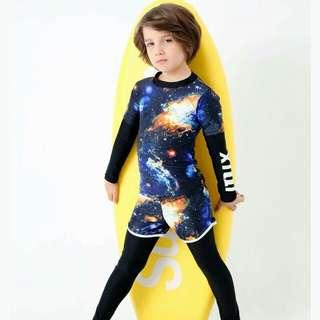 新款太空圖案男兒童長袖泳衣男童泳裝泳褲