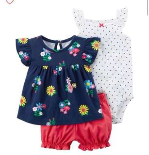 *18M* Brand new Carter's 3-Piece Bodysuit & Diaper Cover Set For Baby Girl