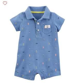 *18M* Brand New Carter's Schiffli Polo Romper For Baby Boy