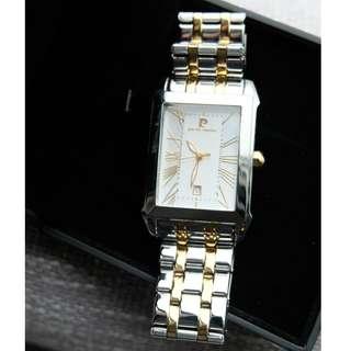 Pierre Cardin Gold/Silver Metallic Band Rectangular Case with Roman Numerals Dress Watch
