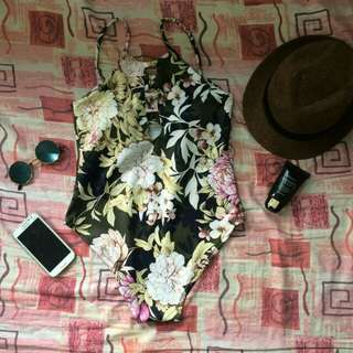 Gray Floral Onepiece Swimsuit