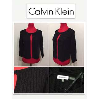 Calvin Klein Black Knit Cropped Cardigan
