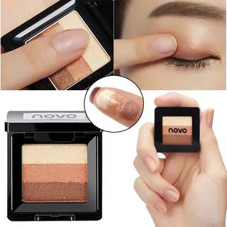 NOVO Professional 3 Colors Eye Shadow Glitter Palette Cosmetics Waterproof Pigments Makeup Shimmer Natural  Eyeshadow Palette