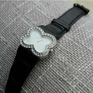 Pierre Cardin Black Silky Leather Band Butterfly Shell Case Encrusted with Crystals Dress Watch