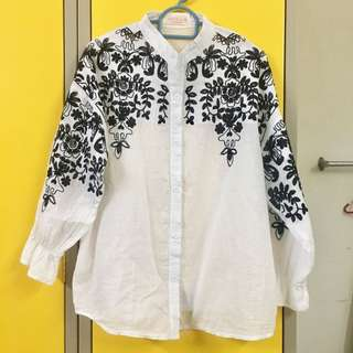White Cotton Embroidered Blouse / Top