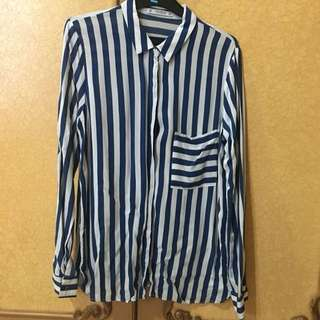 Pull and bear navy stripe shirt