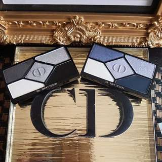 DIOR Eyeshadow x5 tester 208 Navy Design& 008 Smoky Design.