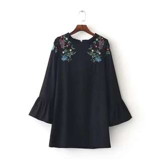 NEW Inspired Zara Embroidery Long Blouse