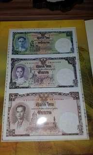 罕有 泰國 泰王誕辰80週年三連紀念鈔連體鈔