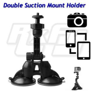 Dual Suction Cup Mount Holder Stand iphone ipad tablet handphone action camera dvr gopro dashcam windscreen mirror glass screen