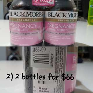 2 bottles of blackmores pregnancy and breastfeeding vitamins *Left with 1 bottle*