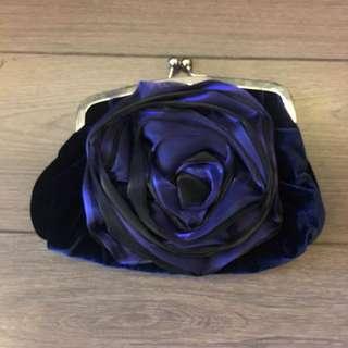 Blue velvet rose clutch