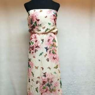 Ladies summer tube floral printed maxi dress