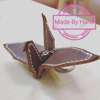 DIY皮紙鶴鎖匙扣