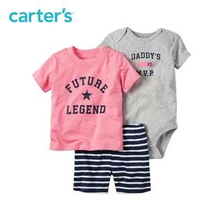 Carter's baby boy 3 pcs set - T shirt Romper Shorts -24M