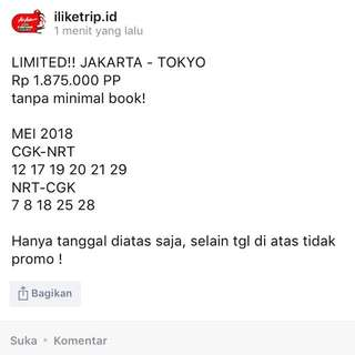 Limit Jakarta - Tokyo PP tiket pesawat promo
