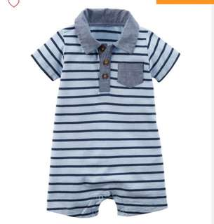 *24M* Brand New Carter's Striped Romper For Baby Boy