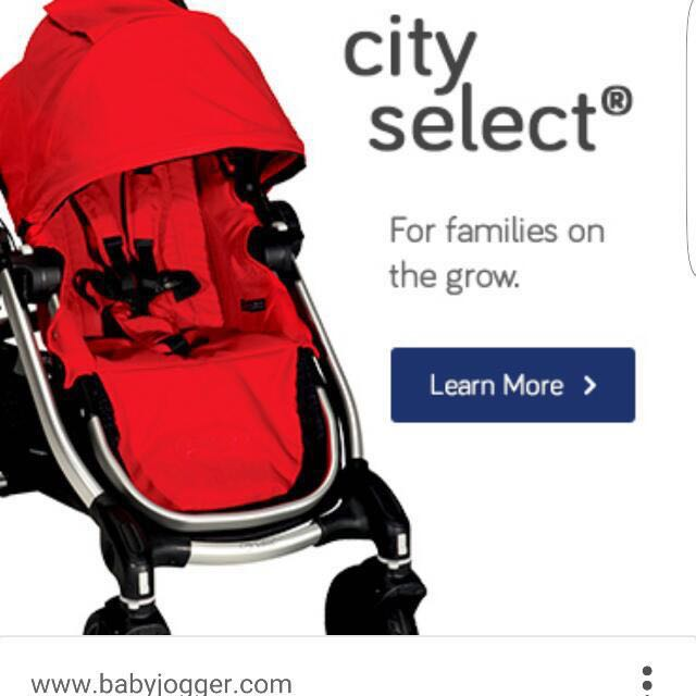 Baby Jogger City Select Tandem Stroller Like New