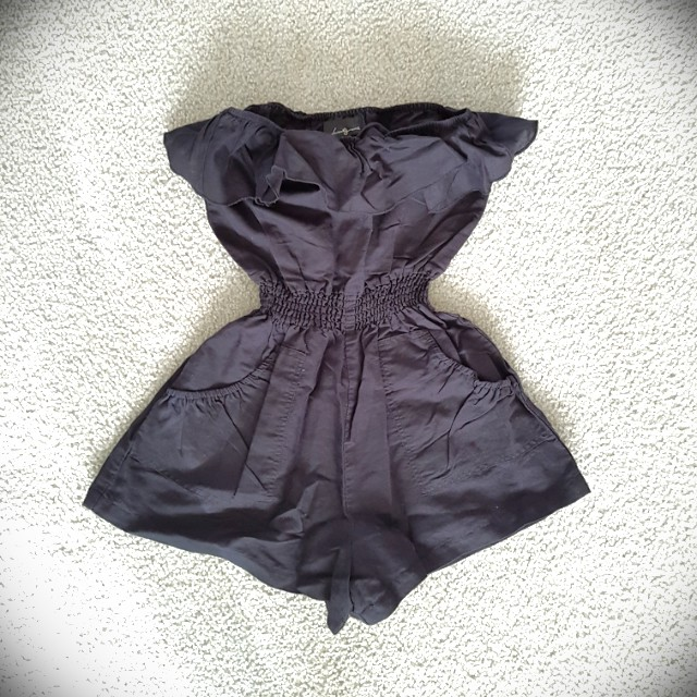 Black linen sleeveless romper (Forever 21)